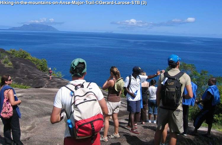 Hiking in the mountains on Anse Major Trail Gerard Larose STB