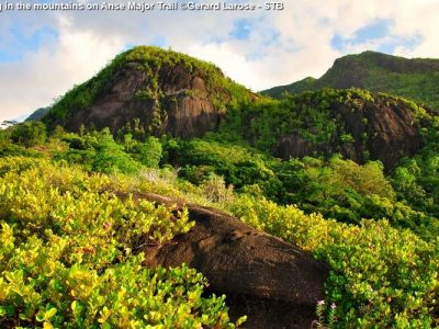 Hiking In The Mountains On Anse Major Trail ©Gerard Larose STB