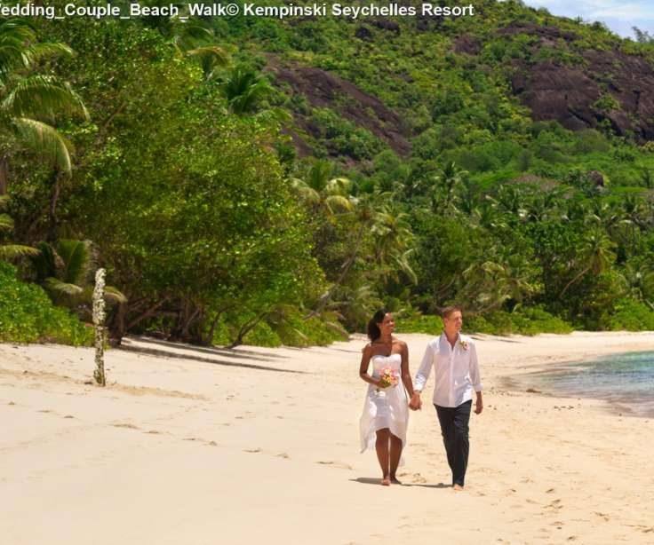 Wedding Couple Beach Walk