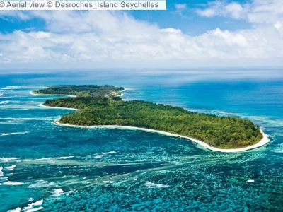 Aerial view Desroches Island Seychelles