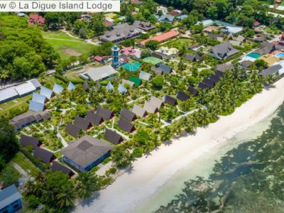 Aerial view La Digue Island Lodge