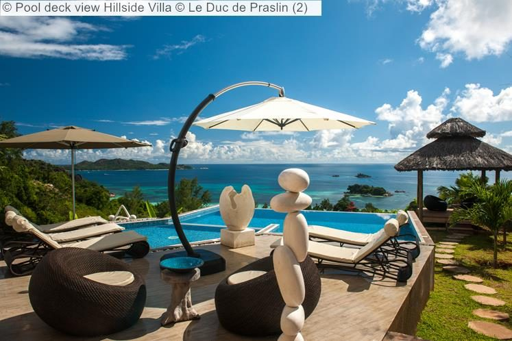 Pool deck view Hillside Villa Le Duc de Praslin