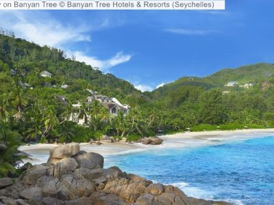 gezicht opBanyan Tree Banyan Tree Hotels Resorts Seychelles
