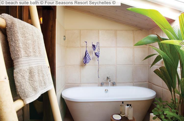 beach suite bath Four Seasons Resort Seychelles