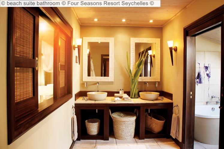 beach suite bathroom Four Seasons Resort Seychelles