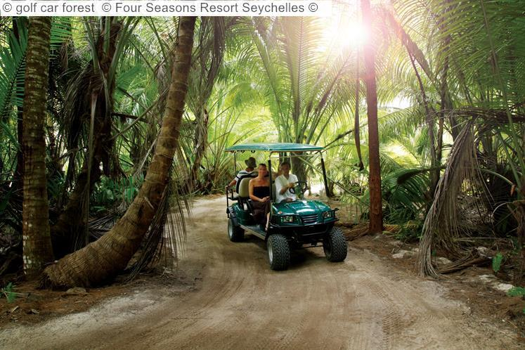 golf car forest Four Seasons Resort Seychelles