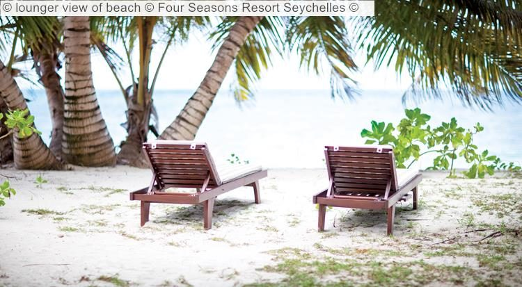 lounger view of beach Four Seasons Resort Seychelles