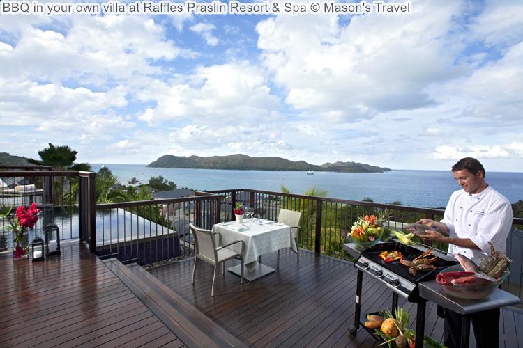 BBQ in your own villa at Raffles Praslin Resort Spa