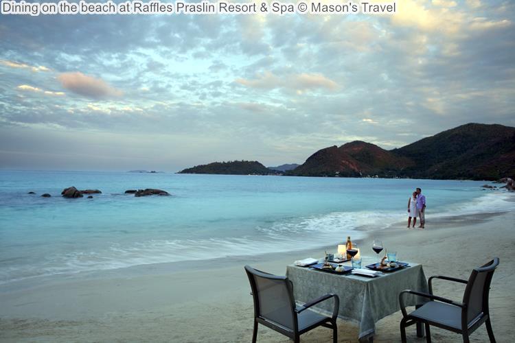 Dining on the beach at Raffles Praslin Resort Spa