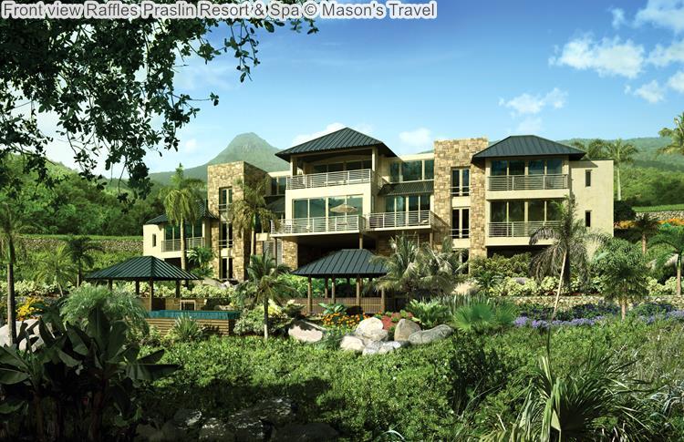Front view Raffles Praslin Resort Spa