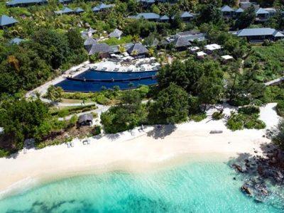 aerial view pool Raffles Praslin Resort Spa
