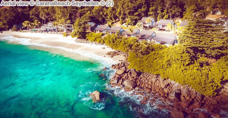 Aerial view Carana Beach Seychelles