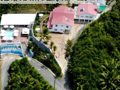 Aerial view Le Relax Hotel Restaurant Mahe