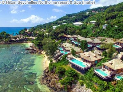 Aerial view Hilton Seychelles Northolme resort Spa mahe