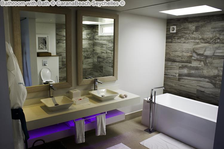 Bathroom with Bath CaranaBeach Seychelles