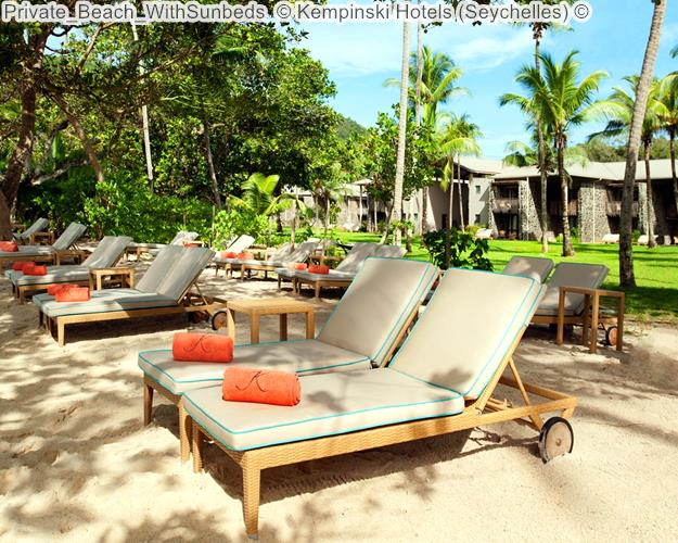 Private Beach WithSunbeds Kempinski Hotels Seychelles