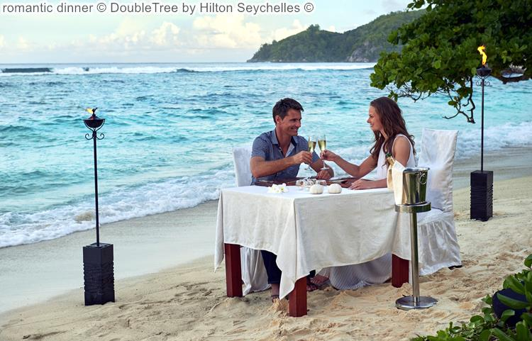 romantic dinner DoubleTree by Hilton Seychelles