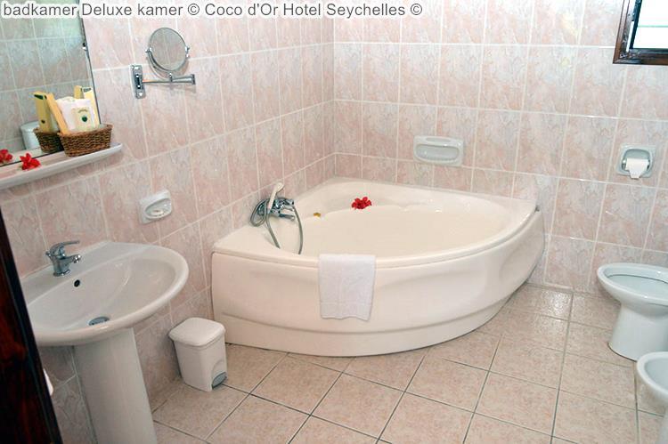 badkamer deluxe kamer Coco d'Or Hotel Seychellen