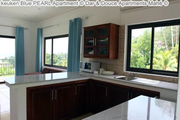 keuken Blue PEARL Apartment Dar & Douce Apartments Mahé