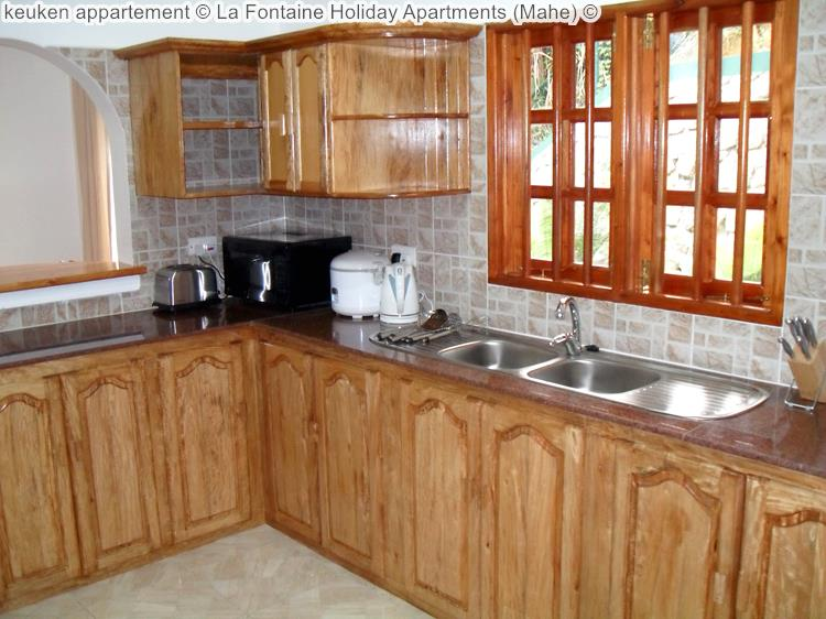keuken appartement La Fontaine Holiday Apartments Mahe
