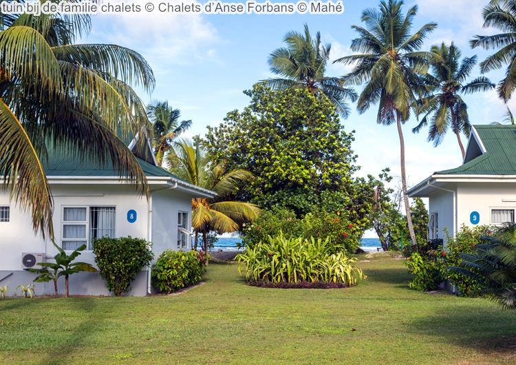 tuin bij de familie chalets Chalets d'Anse Forbans Mahé