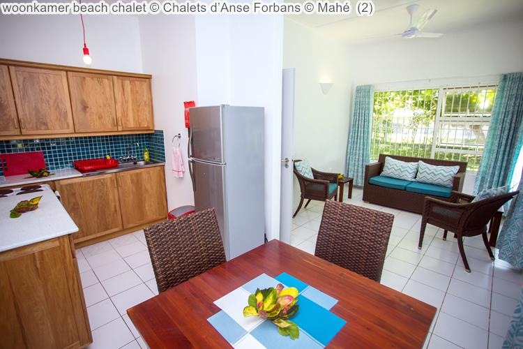 woonkamer beach chalet Chalets d'Anse Forbans Mahé