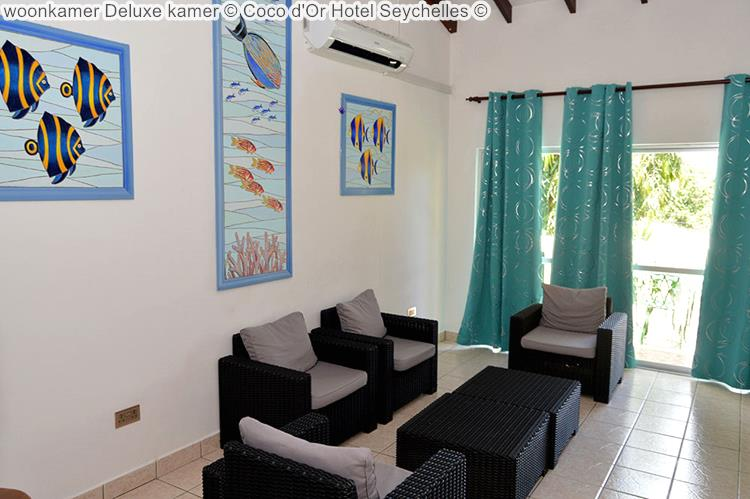 woonkamer deluxe kamer Coco d'Or Hotel Seychellen