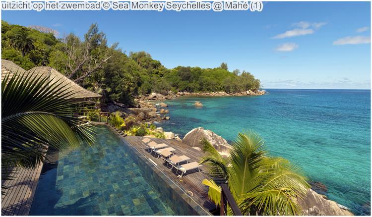 uitzicht op het zwembad Sea Monkey Seychelles @ Mahé