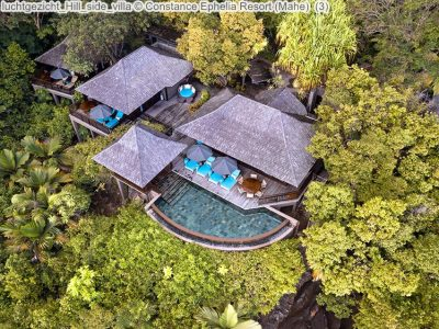 luchtgezicht Hill side villa Constance Ephelia Resort Mahe