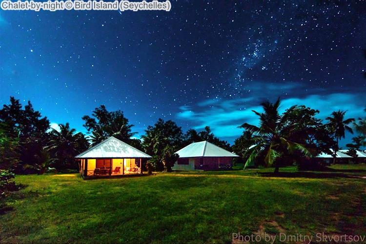 Chalet by night Bird Island Seychelles