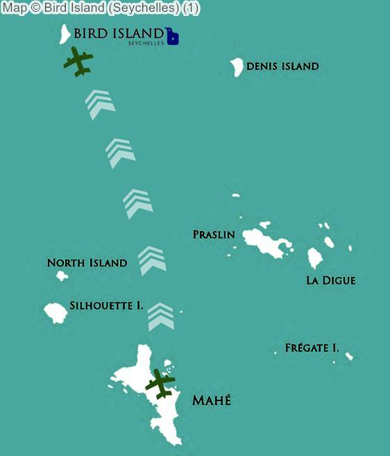 Map Bird Island Seychelles