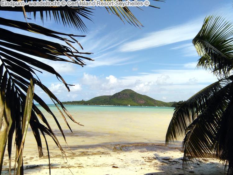 Eindpunt wandeltocht Cerf Island Resort Seychelles