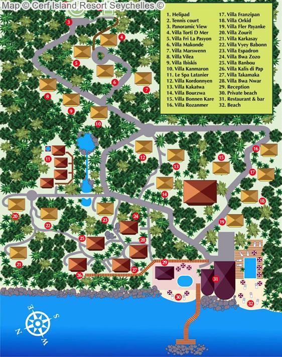 Map Cerf Island Resort Seychelles