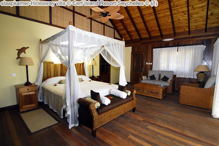 slaapkamer Hideaway villa Cerf Island Resort Seychelles