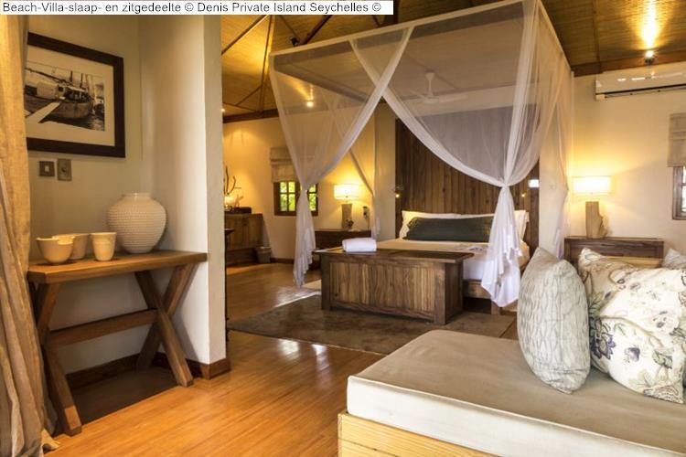 Beach Villa slaap en zitgedeelte Denis Private Island Seychelles