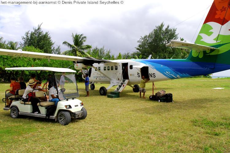 het management bij aankomst Denis Private Island Seychelles