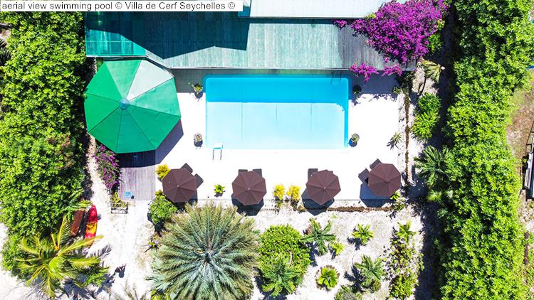 aerial view swimming pool Villa de Cerf Seychelles