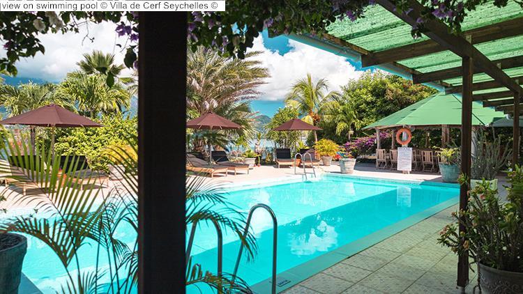 view on swimming pool Villa de Cerf Seychelles